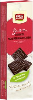 Rosengarten Dinkel Waffelblätter in Zartbitterschokolade 125g MHD 09.09.2020