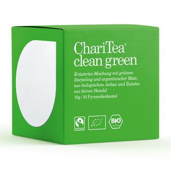 ChariTea clean green Pyramidenbeutel 10 x 1,8g (beschädigte Verpackung) MHD 03.01.2022