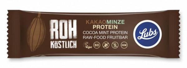 Lubs Rohkost Fruchtriegel Kakao Minze Protein 47g MHD 26.08.2021
