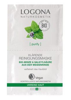 LOGONA Klärende Reinigungsmaske Bio-Minze & Salicylsäure aus Weidenrinde 15ml MHD 30.09.2021