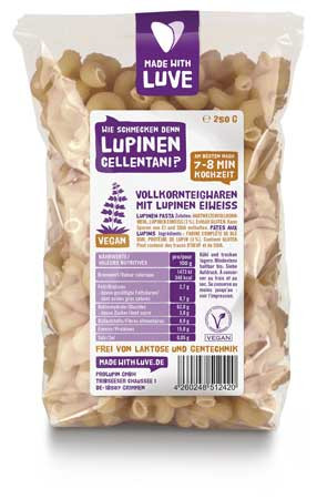 MADE WITH LUVE Lupinen Nudeln Cellentani konventionell 250g MHD 20.05.2021