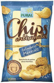 Pural Kartoffelchips mit Meersalz 120g MHD 15.04.2021