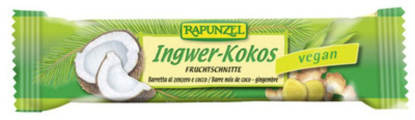 Rapunzel Fruchtschnitte Ingwer Kokos 40g MHD 23.10.2020