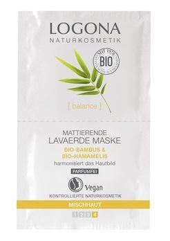 LOGONA Mattierende Lavaerde Maske Bio-Bambus & Bio-Hamamelis 2x7,5ml MHD 31.12.2019