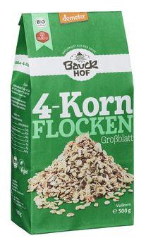 Bauckhof 4-Korn-Flocken ohne Weizen demeter 500g MHD 23.05.2021
