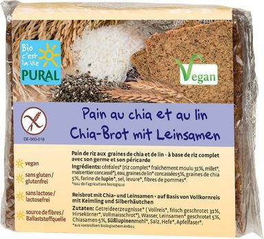 Pural Glutenfreies Chia-Brot mit Leinsamen 375g MHD 08.06.2021